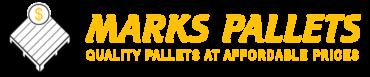 Marks Pallets Company Logo - Gold Text, White and Gold Logo, Retina